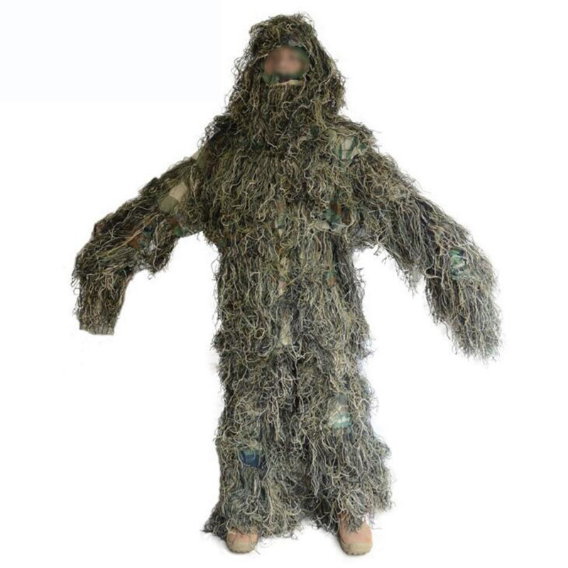 CS Camouflage Suits Set Bionic Disguise Uniform Hunting Woodland Sniper Ghillie Suit Hunting Jungle Military Train Cloth S049 military camouflage ghillie suit woodland grass hay style paintball leaf jungle sniper clothes hunting tactical shade clothing