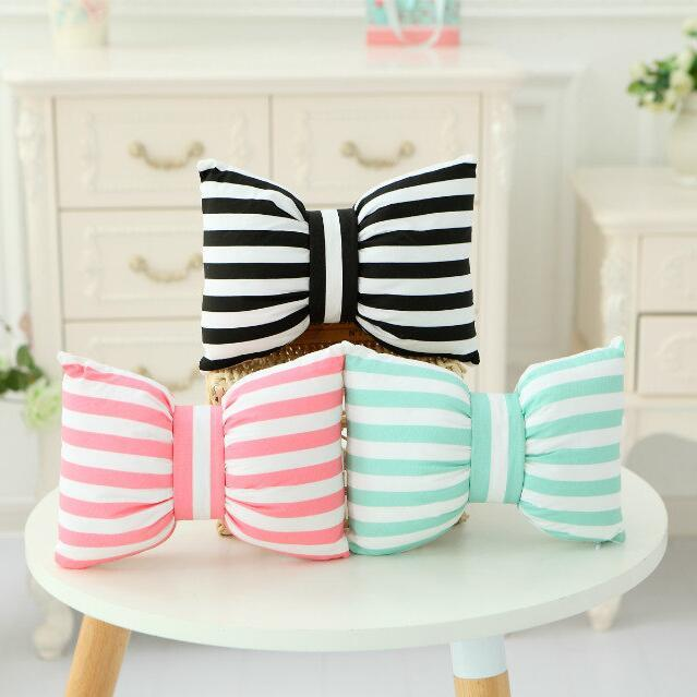 1pcs 45*35cm Creative Bow Cushion Pillow Striped Colorful Popular in Insgram Good For Gift washable