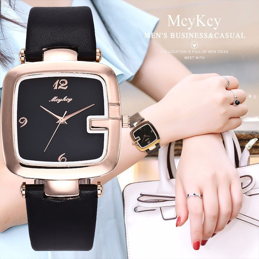 McyKcy Gold & Black Watch Top Brand Luxury Fashion Casual Quartz Watch For Women Leather Strap Wristwatches Relogio Feminino 2017 new fashion tai chi cat watch casual leather women wristwatches quartz watch relogio feminino gift drop shipping
