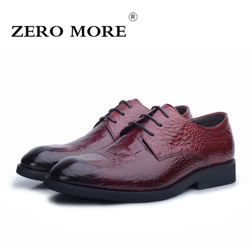 ZERO MORE Brand Men Shoes Fashion Crocodile Style Mens Dress Shoes Genuine Leather Comfortable Luxury Men Shoes Color Burgundy shoes and more сандалии