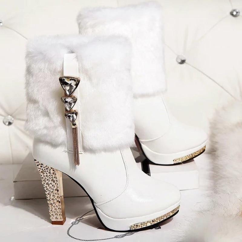 Fiesta Cristal De Boda Negro Tacón Elegante blanco Conejo Alto Caliente 2019 Mujer Botas Las Zapatos Piel Plataforma Mujeres Dama Felpa a4xWqw61