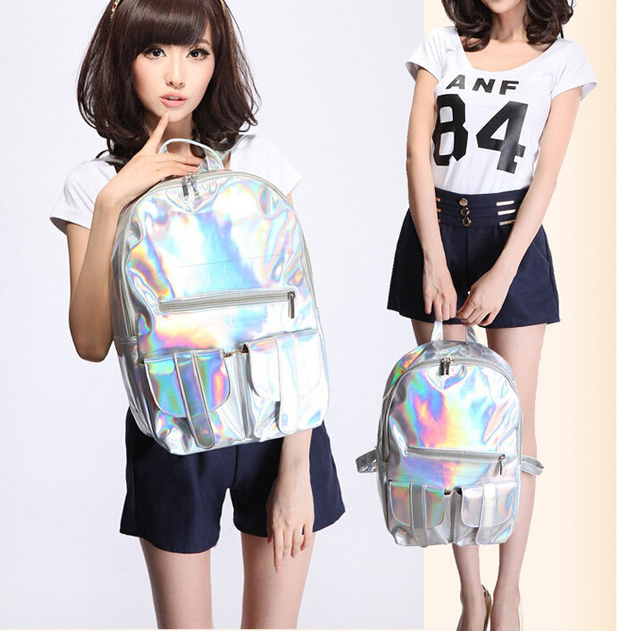 1pcs lot shinny school bag double shoulder backpack HARAJUKU laser symphony bag preppy style pu backpack