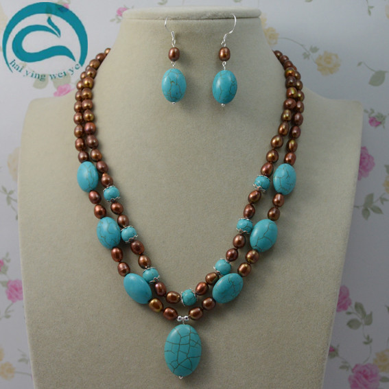 100% Natural Freshwater Pearl Jewelry Set,Brown Color Rice Pearls Blue Turquoises 2 Rows Necklace Silver Dangle Earrings classical malachite green round shell simulated pearl abacus crystal 7 rows necklace earrings women ceremony jewelry set b1303