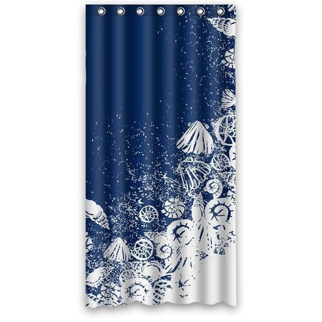 Memory Home Custom Waterproof Bathroom Shower Curtain Ocean Theme Sea Life Seashell Shell Conch Navy Blue