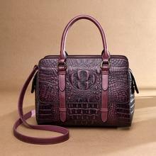 цены Vintage Women's Genuine Leather Handbags Shoulder Bag Crocodile Pattern Luxury Handbags Women Bags Designer Totes Bags for Women
