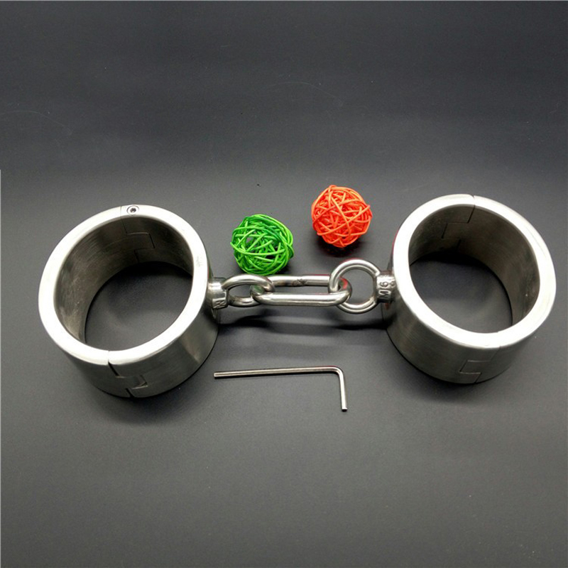 Adult games steel handcuffs oval With chains 100% stainless steel hand cuffs for sex bondage BDSM fetish sex toys for couples vik max adult kids dark blue leather figure skate shoes with aluminium alloy frame and stainless steel ice blade