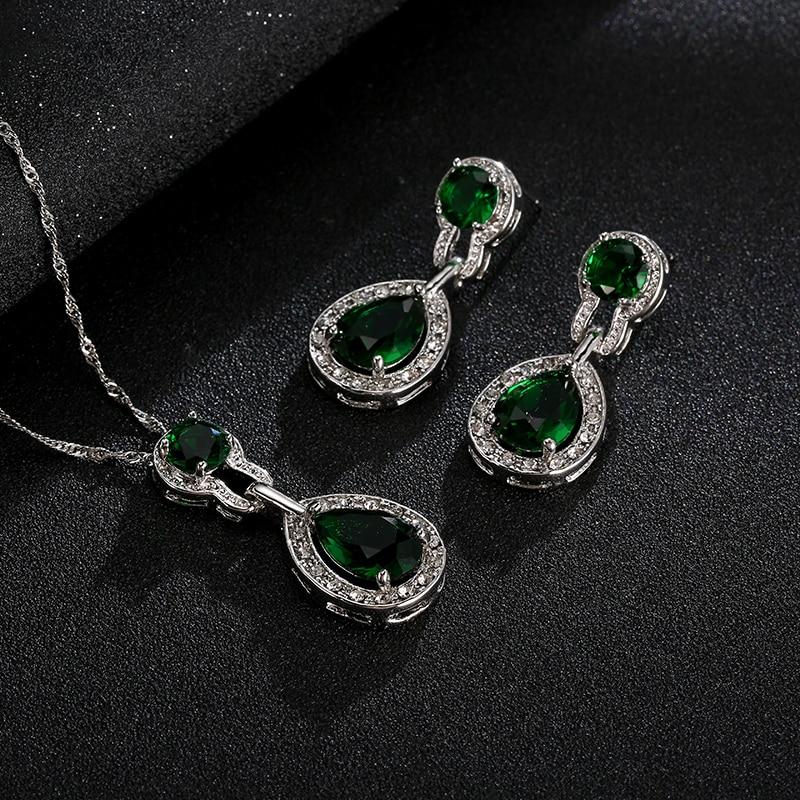 Bridal Bröllop Smycken Set För Kvinnor Grön Crystal Silver Färg Tear Drop Indian Smycken Halsband Set