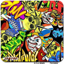 TSCH002 0.5m *2M bomb cartoon skull hydrographic film  water transfer printing film hydro dipping film