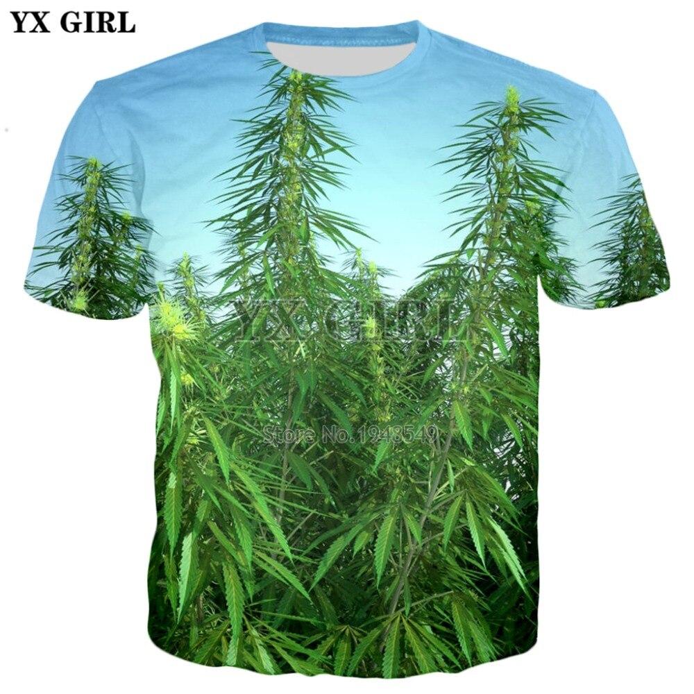 YX GIRL Drop shipping 2018 summer New Fashion 3D t-shirt Green weed Print Men Women Hipster casual Cool t shirts