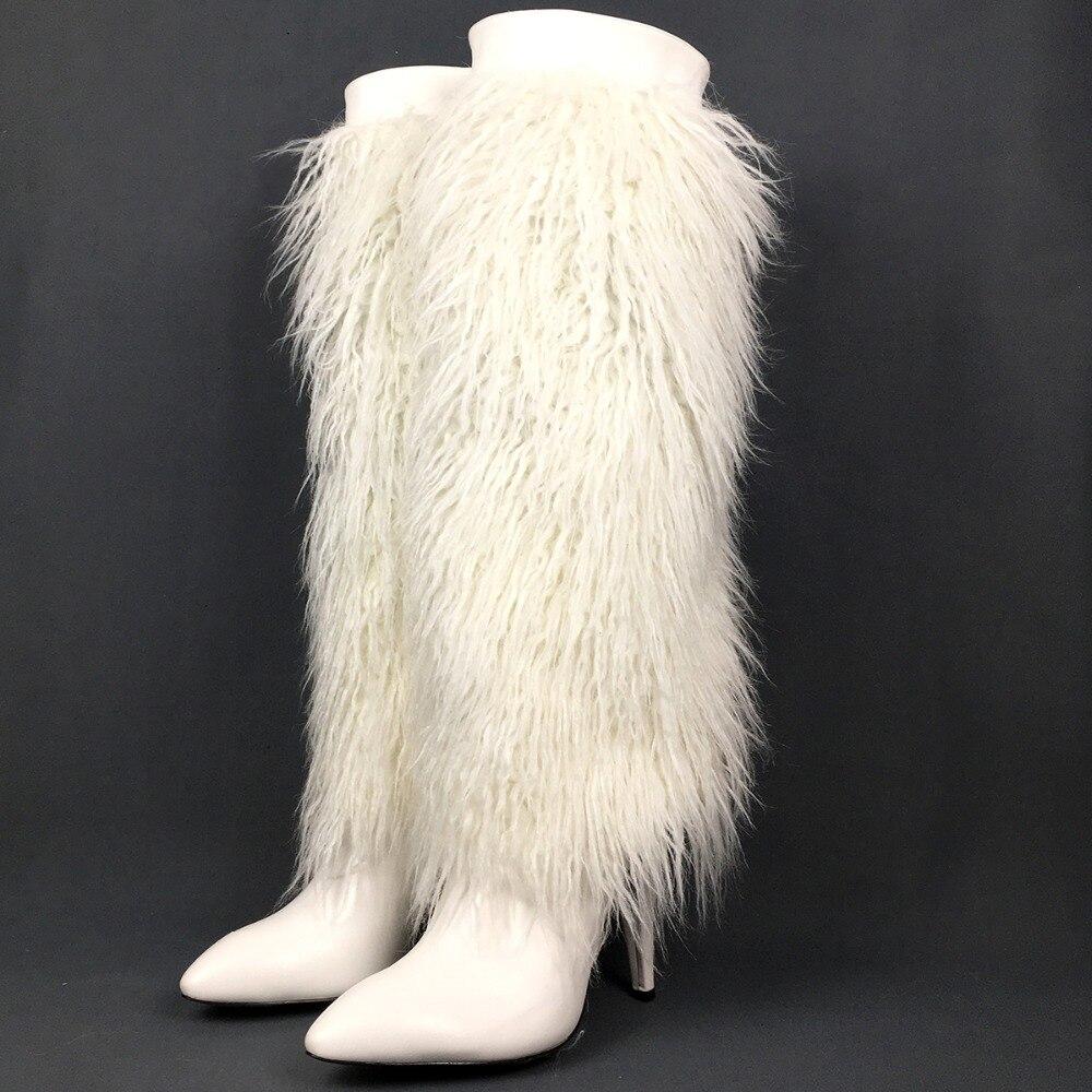 Alta Blanca Las Pie Vestido Tacón Clubwear Botas Cremallera Puntiagudo Fiesta La De Del Moda Rodilla Dedo Señoras Mujeres Invierno Piel Imitación Alto Zapatos 7HxH5Aw1q