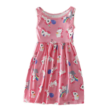 цена на Cute Girls Dress Summer 2019 Sleeveless Unicorn Dress Pattern Cartoon Print Children Birthday Party Dress Kids Princess Costume