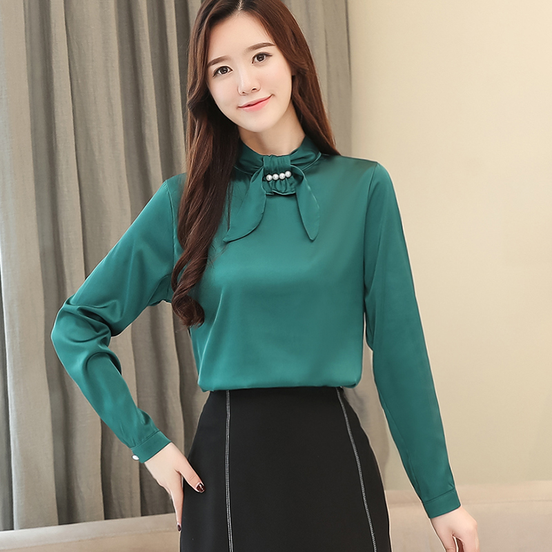 rojo Y Blusa 2018 Mujeres Moda De Blusas Otoño Manga Camisa Las 1435 Fit Larga Negro Ropa Primavera Seda verde Corea Mujer Trabajo 45 Slim Nueva tqIStw7