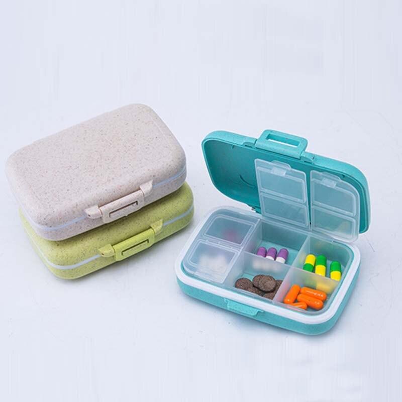 Новый Портативный зерна волокна материала Pill контейнер с наркотиками Tablet футляр для хранения еженедельно ручной клади держатель Pill Box Medicine ...