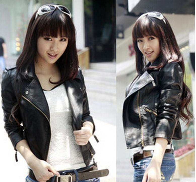 Leather     Suede   Free shipping blouse new spring and autumn ladies short paragraph Slim PU   leather   jacket 10341