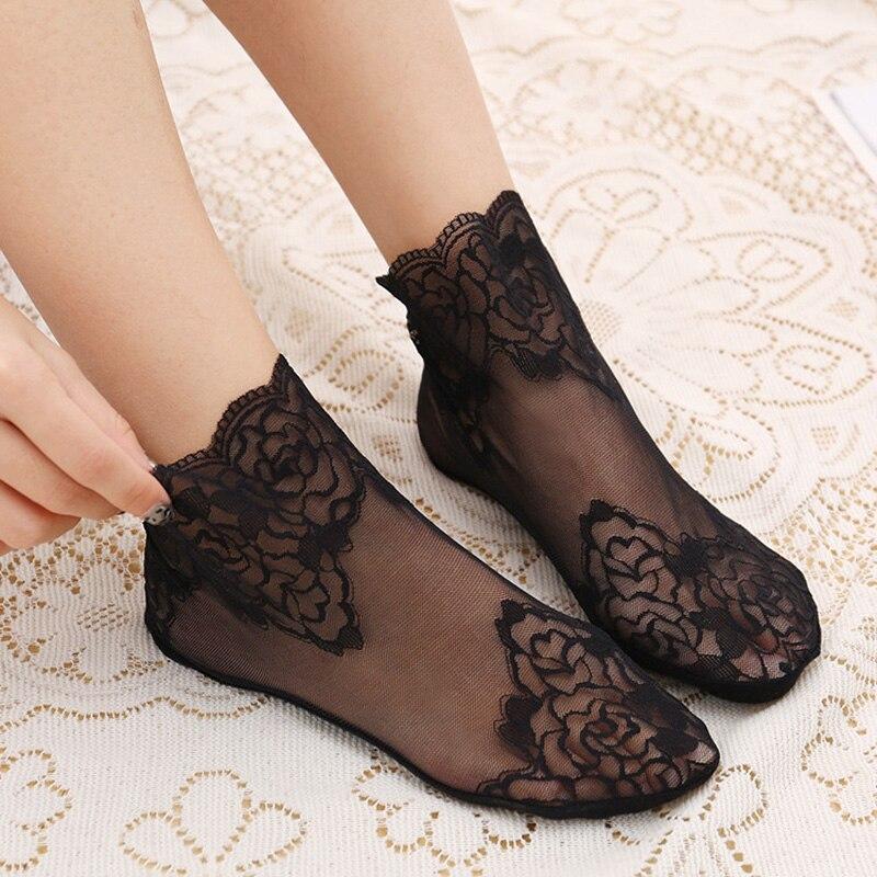 1 Pair Of Thin Cotton Women Socks Versatile Lace Short Lace Socks Breathable Sweat absorbent Non Slip Tube Net Socks in Sock Slippers from Underwear Sleepwears