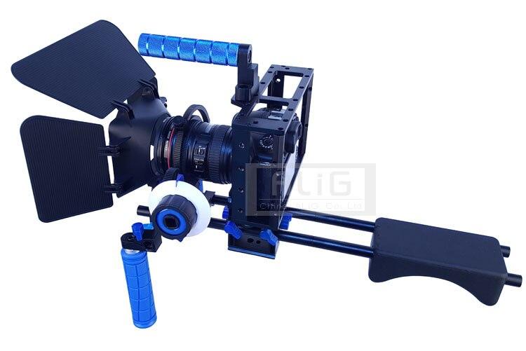 bilder für Studio Zubehör DSLR Rig Schulter stand + Kamera handheld fall + Objektiv haube + Follow focus für 5D Mark III 5DII 5D4 80D 70D 7D