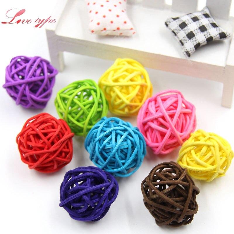 20PCS Multicolor 3CM Rattan Ball DIY Sepak Takraw Balls Home Ornaments&Christmas/Birthday/Wedding Party Kids Toys Decorations