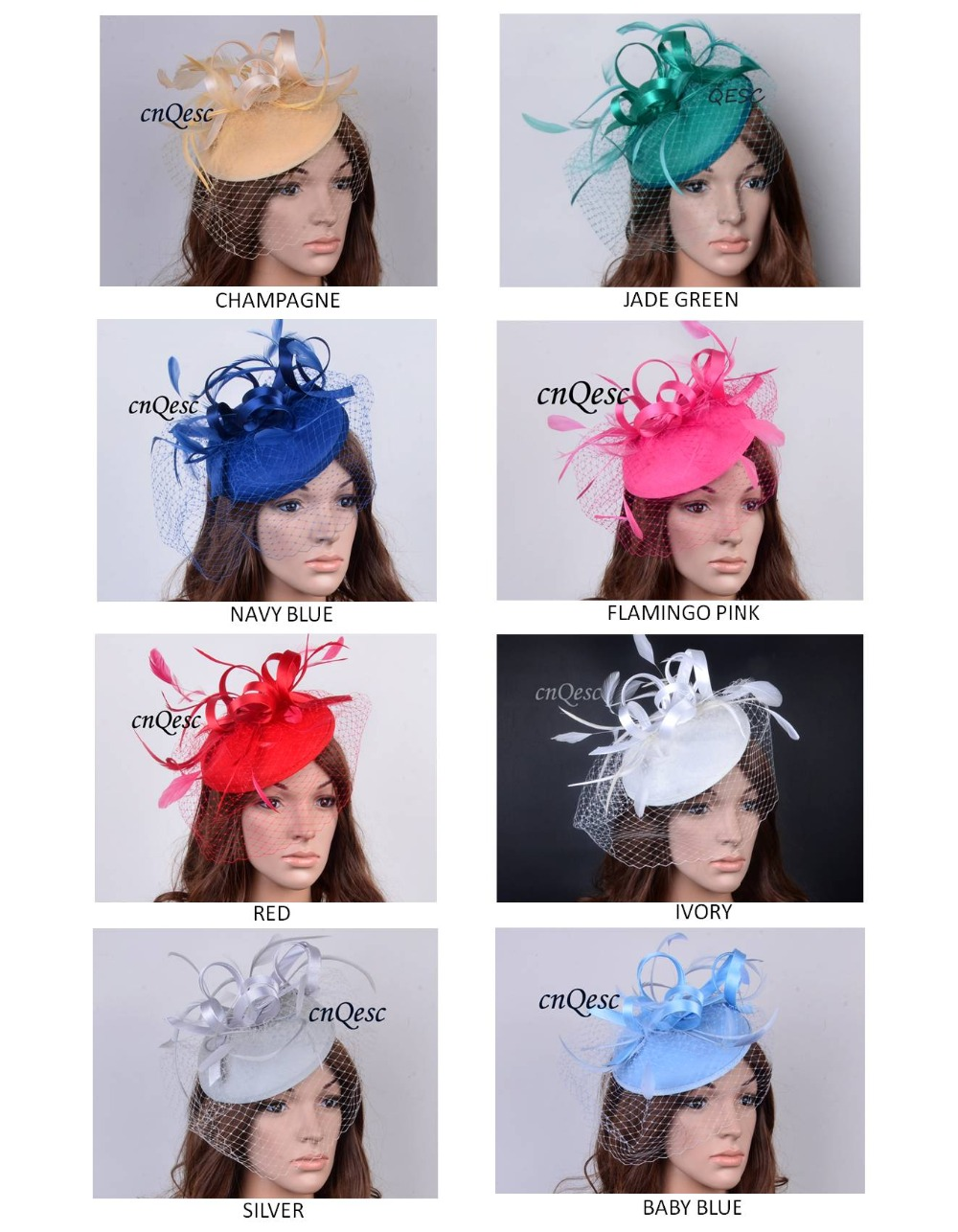 Wholesale headband party fascinator felt fascinator sinamay fascinator with birdcage veilng satin loop feathers FREE SHIPPING