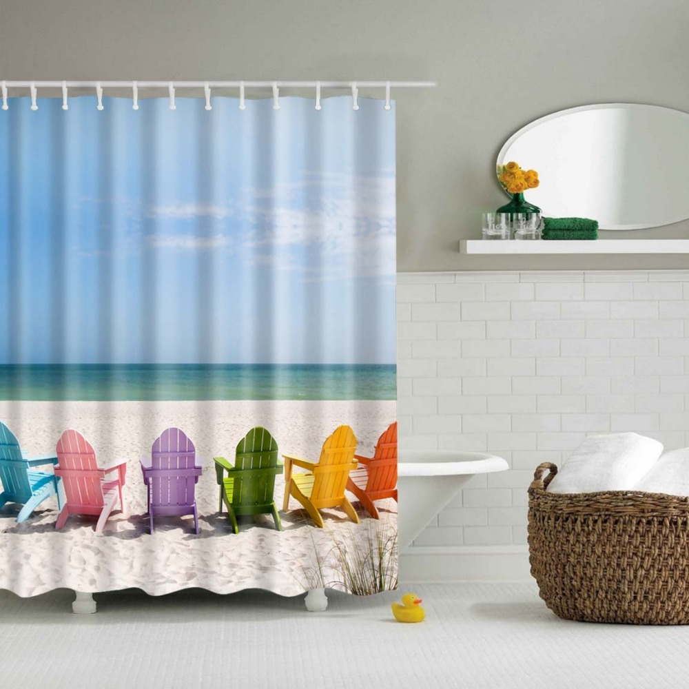 Sunflower shower curtain hooks - 3d Shower Curtains High Quality Printed Polyester Shower Vivid Tropic Beach Scenery Ocean Bathroom Curtain Hooks