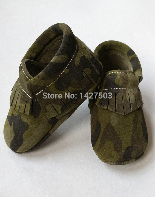 New army design fringe baby moccasins,camouflage color baby suede tassel moccs prewalker booties,genuine leather soft sole