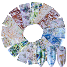 16 pcs Holographic Nail Transfer Sticker Gradient Marble Nail Foils Glue Adhesive DIY Stencils Nails Tips Nail Accessory CH492