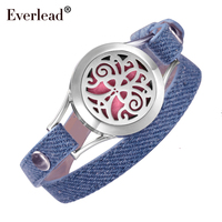 EVERLEAD Denim wrap leather bracelets Valentine's Day For Girlfriend Gift Tree of Life aromatherapy oil Daughter diffuser Locket