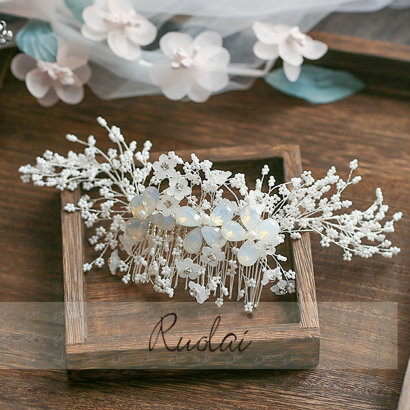 Ruolai Silver Gold Wedding Hair Accessories Handmade Crystal Hair Comb Bridal Headwear Hair Jewelry Women Flower Headpiece HD13