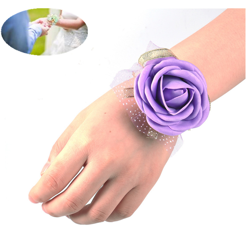 Artificial Decorations Wedding Wrist Flower Rose Silk Ribbon Bride Corsage Hand Decorative Wristband Bracelet Bridesmaid Curtain Band Bouquet B109-1