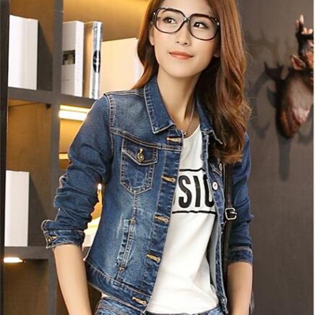 6dfe3d7d7f9 2016 autumn denim Outerwear female short design slim elastic spring Jacket  all-match long-