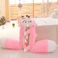 1pcs 160cm Cute Animal Soft Pillow Pink Big Tail Foxes Plush Toy Stuff Doll Birthday Presents For Children Kids Or Friend