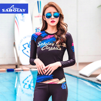SABOLAY Korean version diving suit Water Sports Surf Anti UV Quick dry Swimsuit Women Beach Long Sleeve Tops Trousers Swimwear