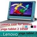 Case cubierta de cuero de lujo para lenovo yoga tablet 2 10.1 1050f 1051f 1050l1051 1050 tableta de la cubierta case + protector de pantalla + stylus