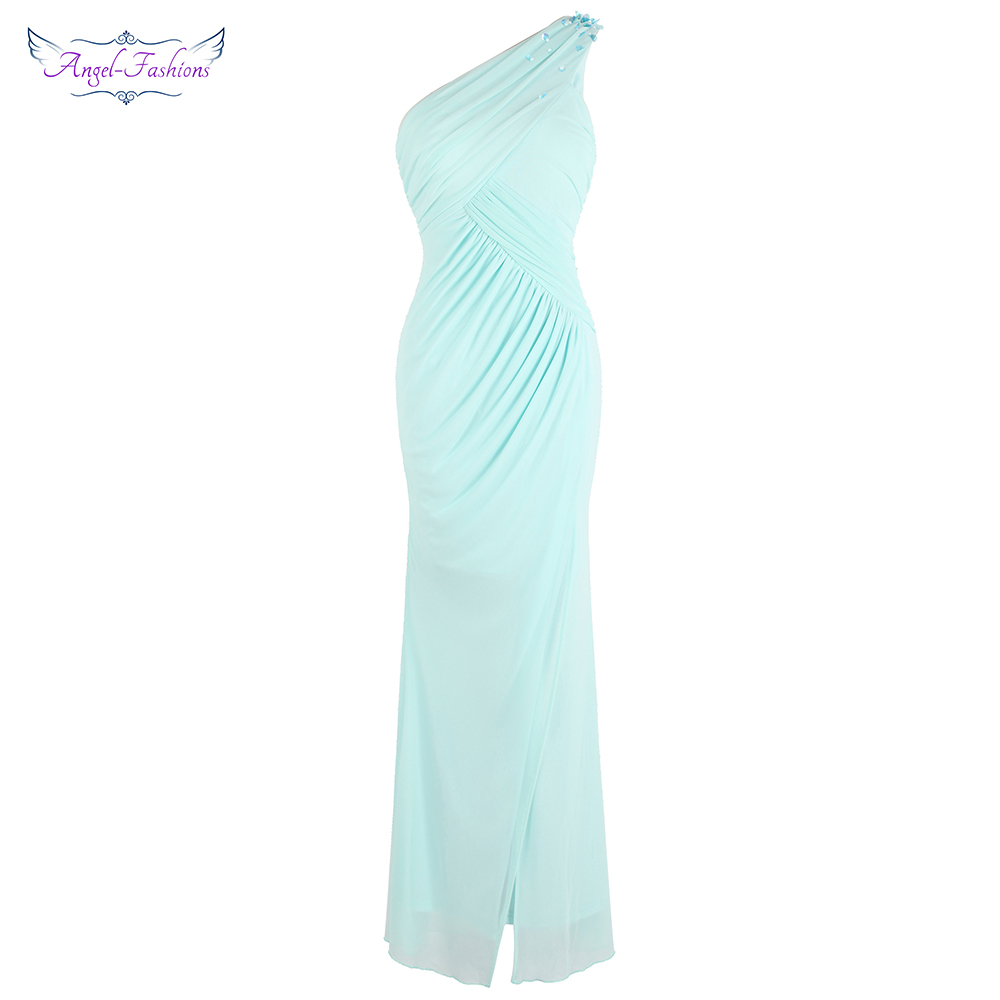 Angel-fashions Women's One Shoulder Pleated Slit Evening Dresses Light Mint Green J-181103-S