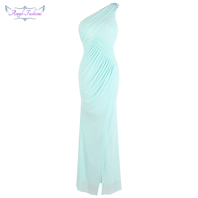748d500d8c7c Angel-fashions Women's One Shoulder Pleated Slit Evening Dresses Light Mint  Green J-181103-S