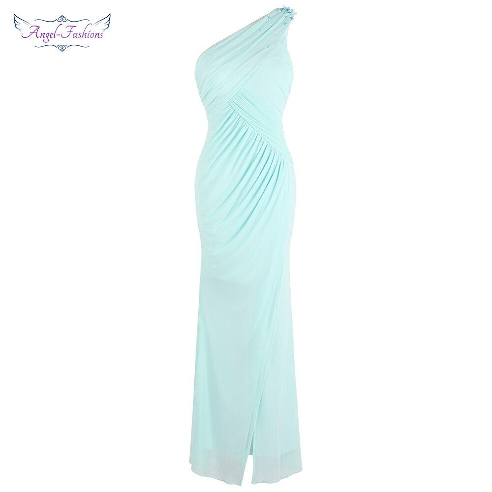 Angel-fashions Women's One Shoulder Pleated Slit   Evening     Dresses   Light Mint Green J-181103-S