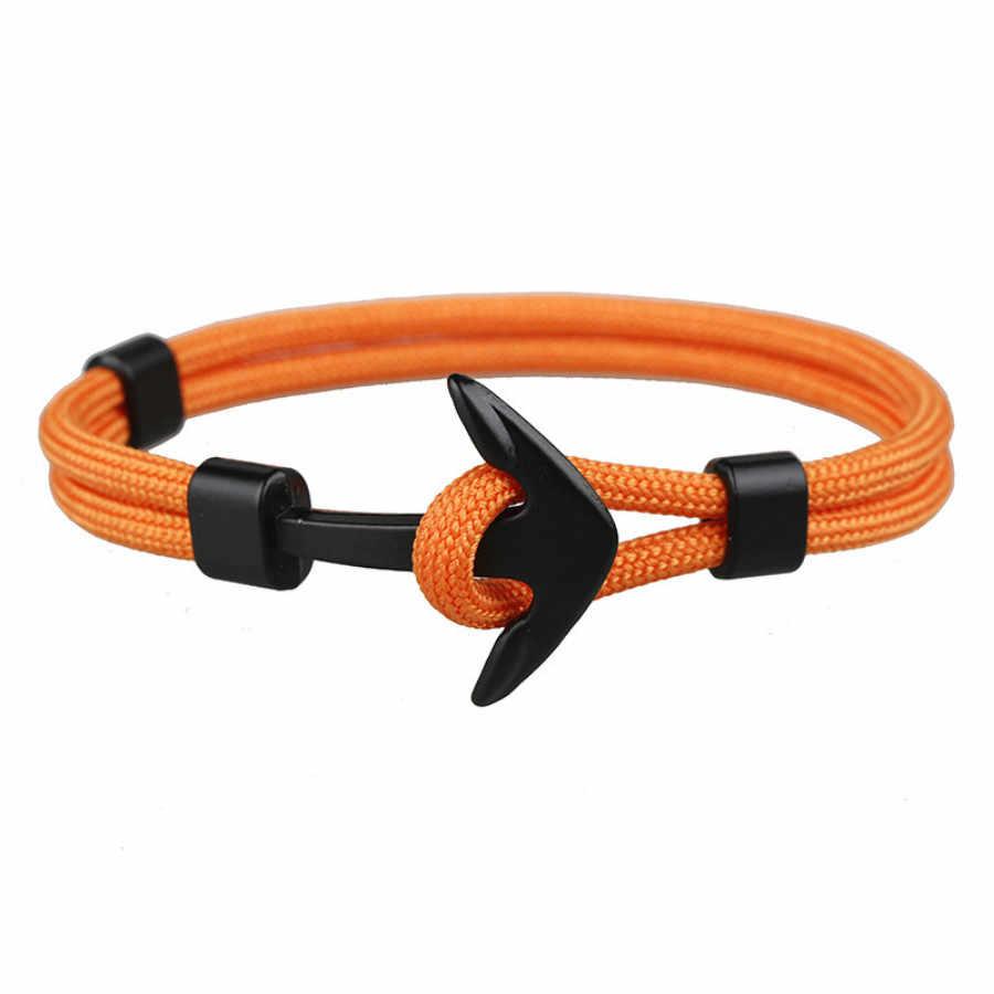 1 шт. распродажа модные Strand браслеты черный цвет якорь для мужчин выживания Веревка Цепи браслет мужской обернуть металлические спортивные крючки