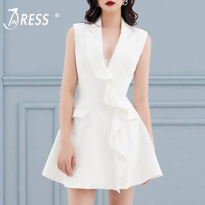 20ca12692c INDRESSME Elegant A Line Solid White Sleeveless Deep V Neck Empire Party  Dress Sexy Mini Women. US  59.00. 2018 Runway Designer Ruffles ...