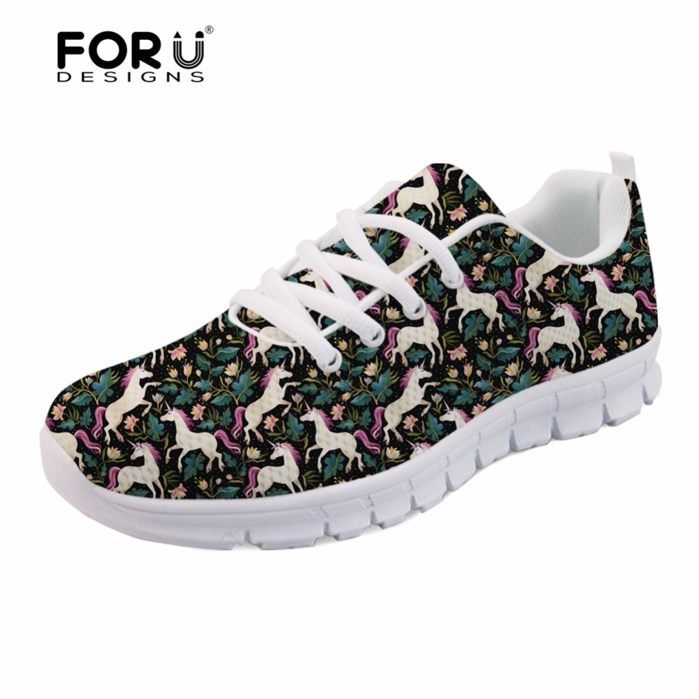 FORUDESIGNS Unicorns Are Real Print Flats Women Sneakers Cute Cartoon Female Light Breathable Mesh Shoes for Teenage Girls Woman instantarts fashion women flats cute cartoon dental equipment pattern pink sneakers woman breathable comfortable mesh flat shoes