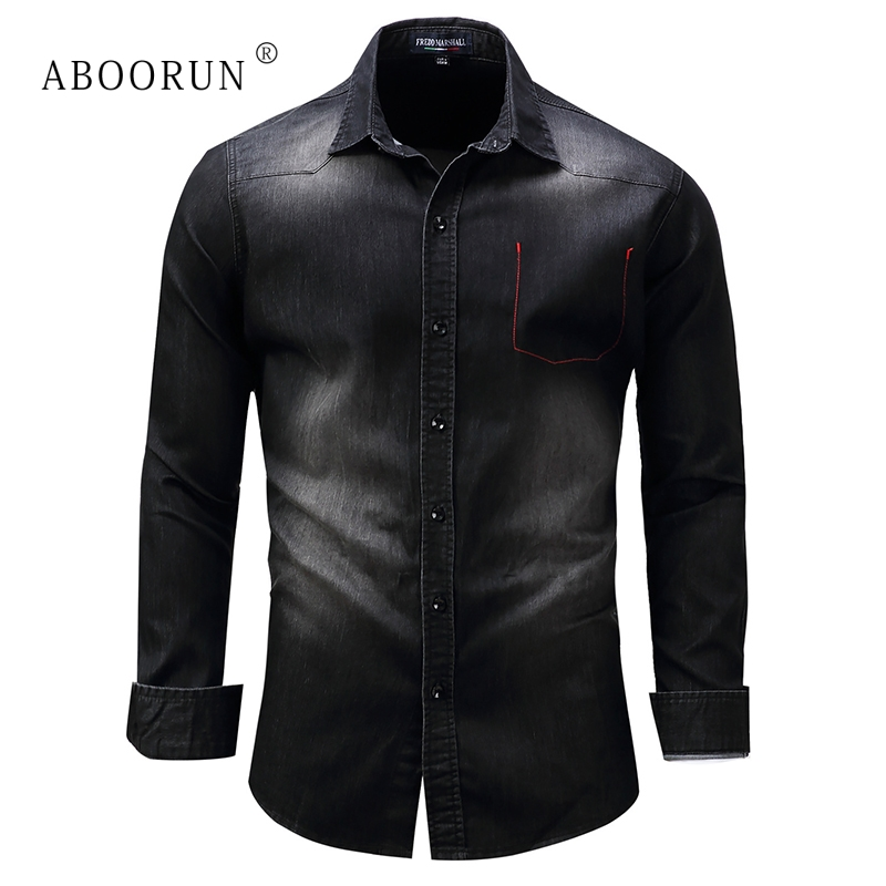 ABOORUN High Quality Men's Denim Shirts Front Pockets Slim Fit Denim Shirts Pure Cotton Long Sleeve Shirts For Male X564