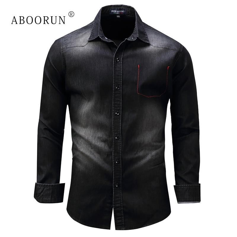 ABOORUN High Quality Men's Denim Shirts Front Pockets Slim Fit Denim Shirts Pure Cotton Long Sleeve Shirts For Male X564