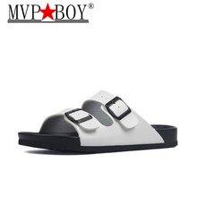 MVP BOY Summer Flip Flops Slippers 2019 New Women Casual Beach Double Buckle  Slip on Slides Shoe Flat With White Black Silver