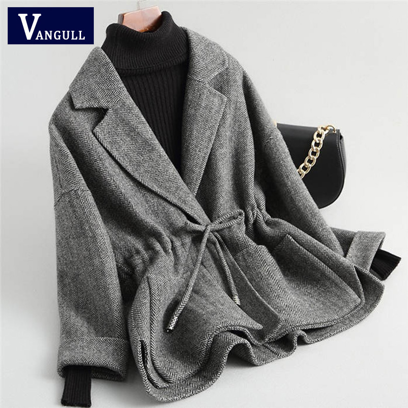 Autumn Winter   Trench   Coat Women Elegant Drawstring Belt Turn-down Collar woollen Coats Spring Outwear VANGULL Fashion 2018 New