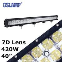 Oslamp 420W 7D Lens 40 Driving Led Light Bar + Daytime Running Light Offroad Work Light Led Bar 12V 24V for Car SUV ATV Truck