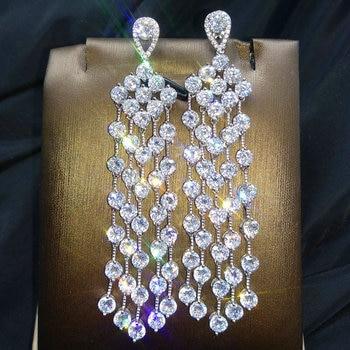 Deco Style Long Tassel Cubic Zirconia Earrings