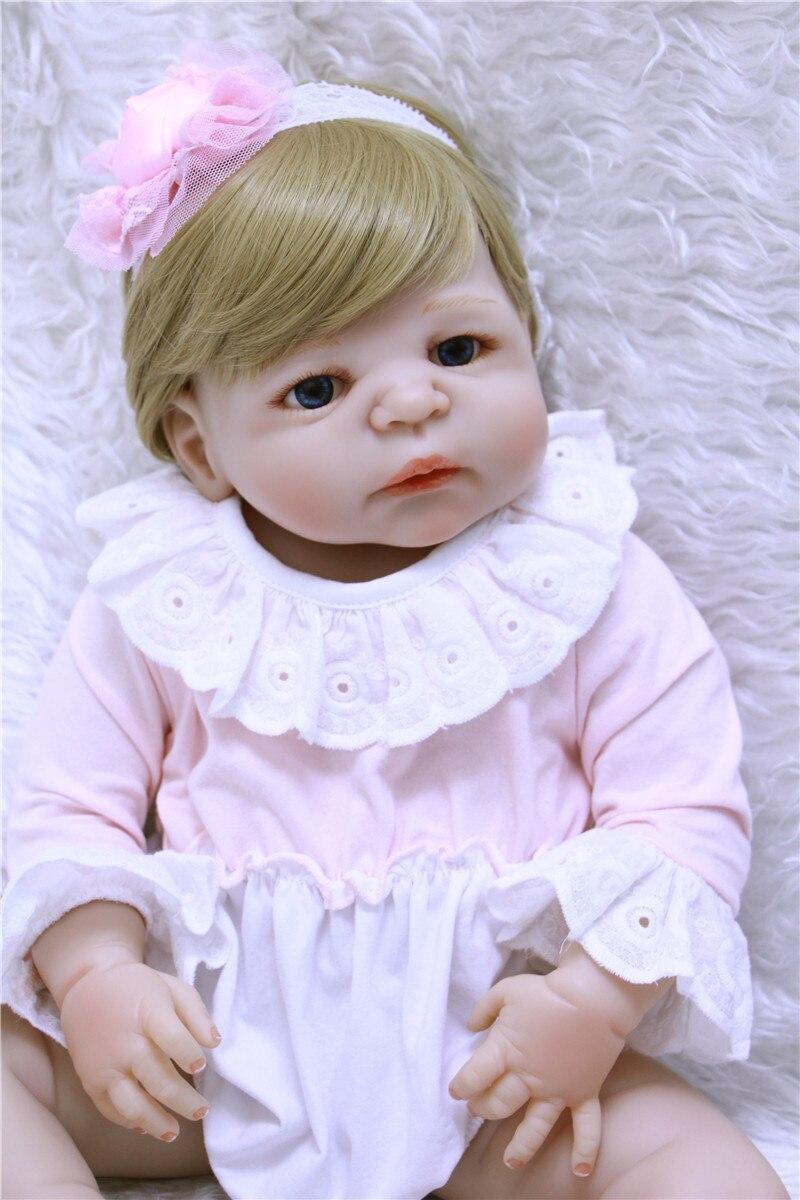 Plein Silicone Reborn poupées bébé belle poupée Reborn vinyle Boneca BeBe Reborn poupée bleu eys pour filles jouets doux vivant poupée lol - 3