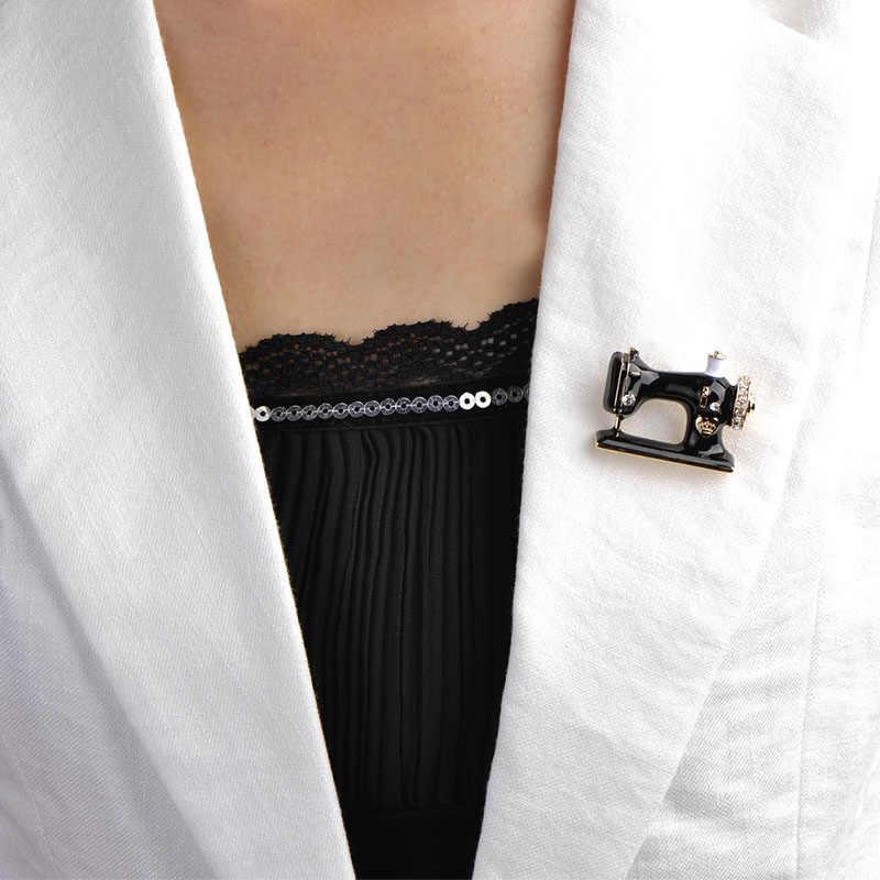 Blucome Delle Ragazze Delle Donne Macchina Da Cucire Spilla Nero Dello Smalto Spille Gioielli Hijab Spille Per Il Collare del Vestito Sciarpa Decorazione Accessori
