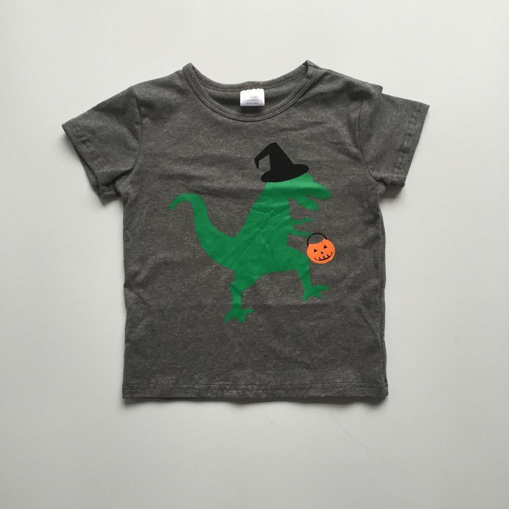 baby boys clothes Halloween top shirts grey T-shirts with green dinosaur