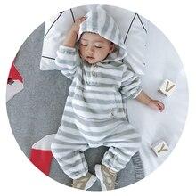 Зимняя одежда из фланелевого флиса для маленьких мальчиков от 6 до 36 месяцев комбинезон в полоску для маленьких девочек, цельный костюм для малышей теплая одежда для новорожденных