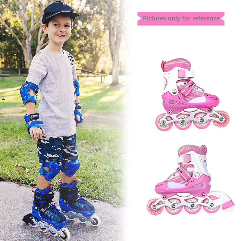 1 pair of high quality roller shoes single flash children adjustable breathable comfortable freestyle skates roller