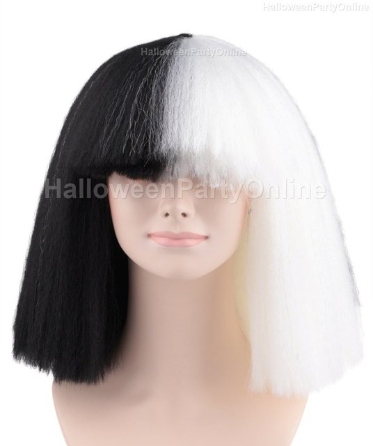 (US in Stock) Halloween Party Online SIA Black   White Wig Large Costume  Cosplay HW-174 17d0bbfc3799
